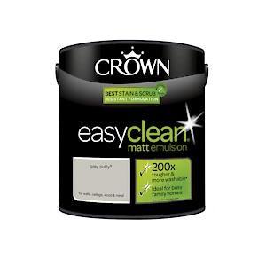 Crown Easyclean Matt Emulsion Grey Putty 2.5L
