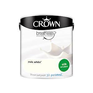 Crown Breatheasy Silk Emulsion - 2.5 Litre - Milk White