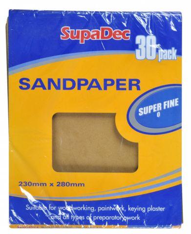 SupaDec General Purpose Sandpaper Pack 30 Super Fine 0