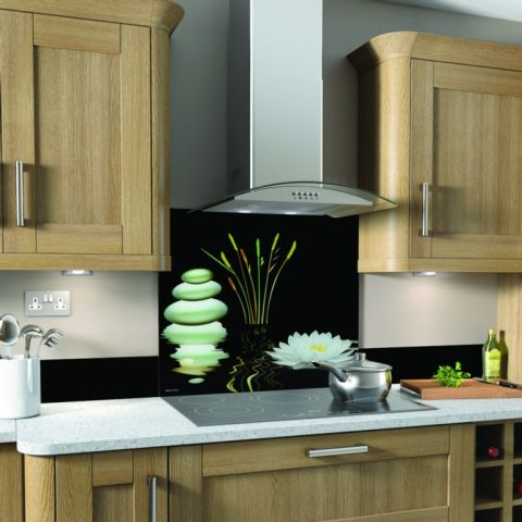 Sp Glass Splashback 600 X 750Mm Water Lily