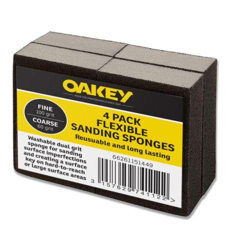 Oakey Black Flexible Sanding Sponges Fine 100G/Coarse 60G Pack 4