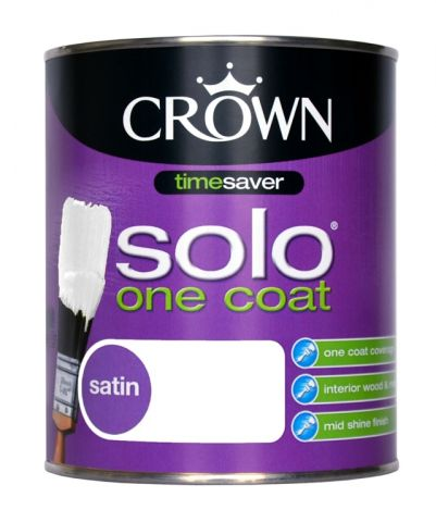 Crown Solo One Coat Satin 750Ml Pure Brilliant White