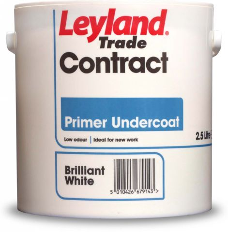 Leyland Trade Contract Acrylic Primer Undercoat 2.5L Brilliant White