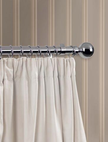 Woodside SupaDec Chrome Finish Curtain Pole 180cm 28mm diameter