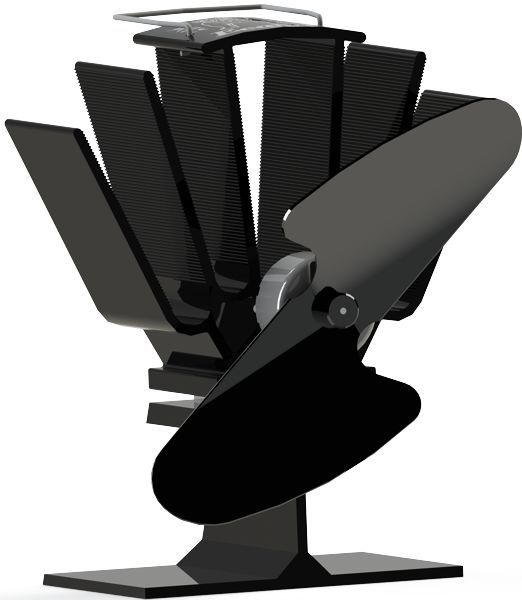 Ecofan 815 Original Mini Wood-Stove Fan; All Black