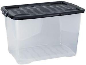 Curve Box&Lid Clear/Blk 60L Hw203