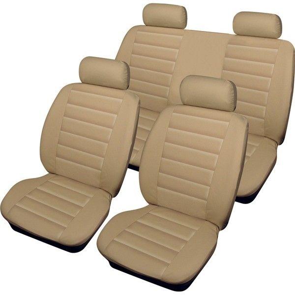 Car Seat Cover Leatherlook Set Beige