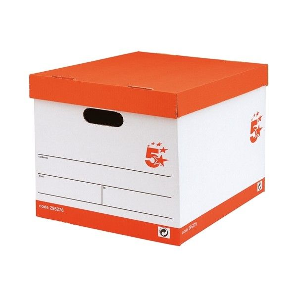 Archive Storage Boxes White Red Pack Of 10