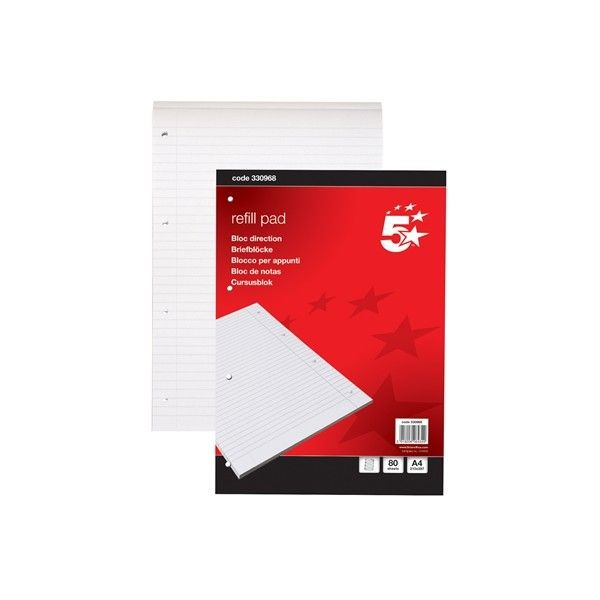 A4 Ruled Headbound Refill Pad 80 Sheets Pack Of 10