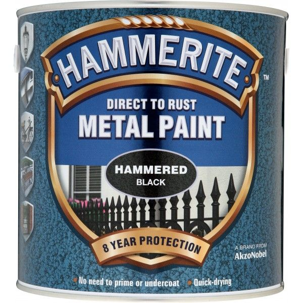 Direct To Rust Metal Paint Hammered Black 2.5 Litre
