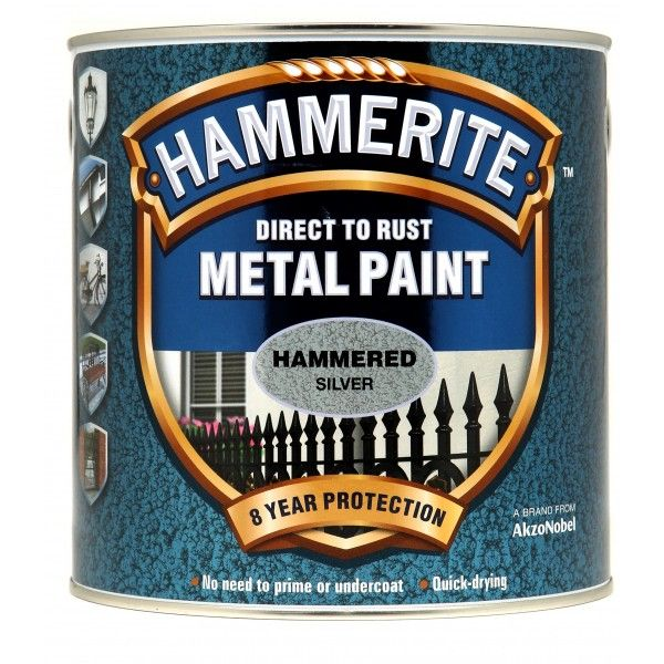 Direct To Rust Metal Paint Hammered Silver 2.5 Litre
