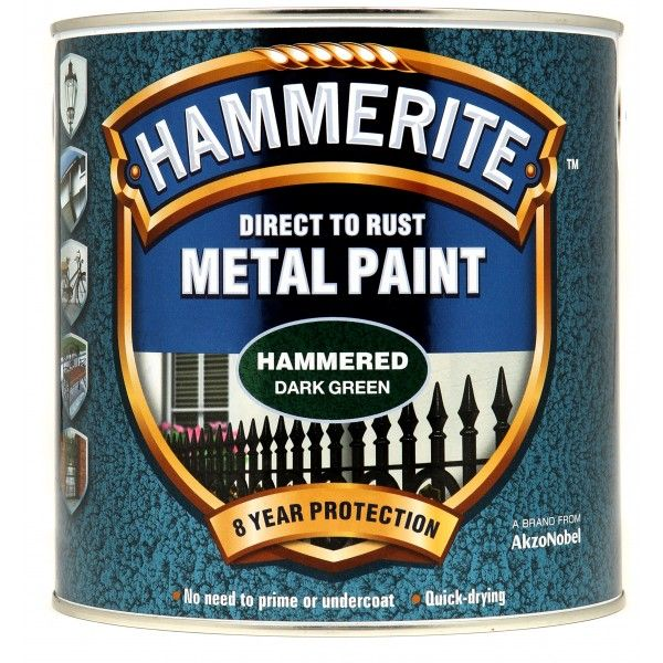 Direct To Rust Metal Paint Hammered Dark Green 2.5 Litre