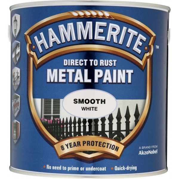 Direct To Rust Metal Paint Smooth White 2.5 Litre