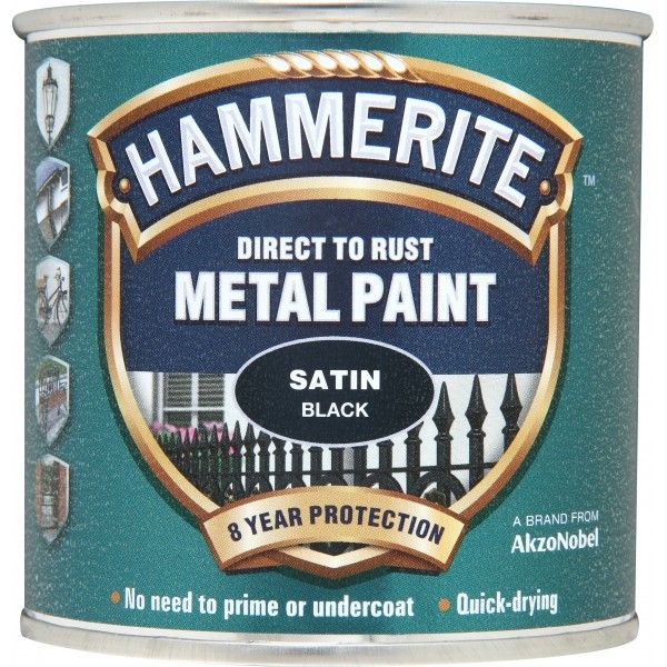 Direct To Rust Metal Paint Satin Black 250Ml