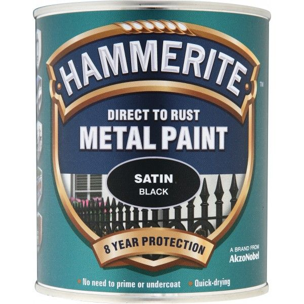 Direct To Rust Metal Paint Satin Black 2.5 Litre