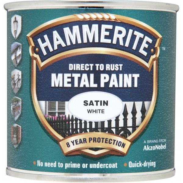 Direct To Rust Metal Paint Satin White 250Ml