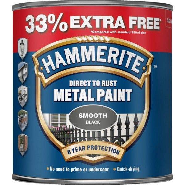 Direct To Rust Metal Paint Smooth Black 750Ml 33 Ef