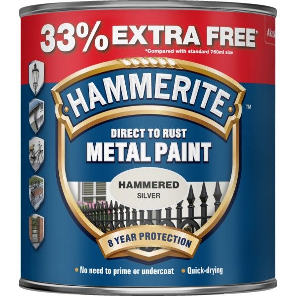 Direct To Rust Metal Paint Hammered Silver 750Ml 33 Ef