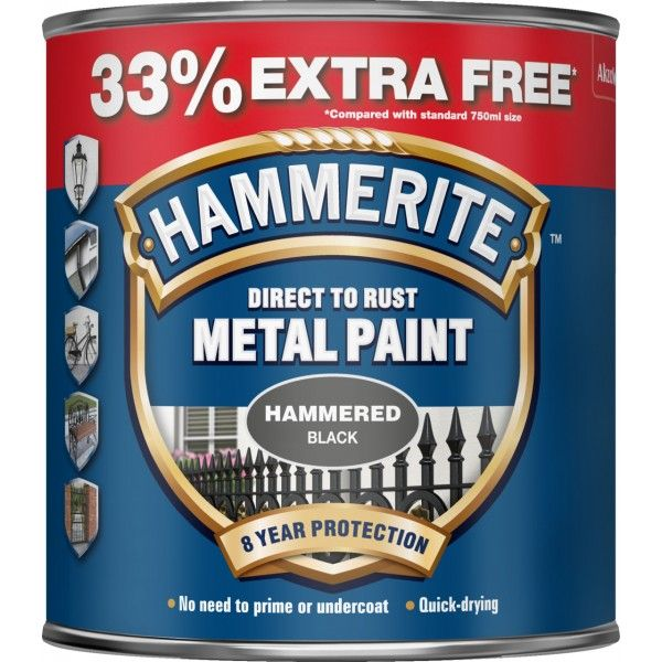 Direct To Rust Metal Paint Hammered Black 750Ml 33 Ef