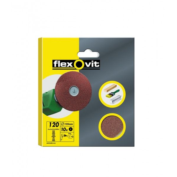 High Performance Aluminium Oxide Discs Drill Mountable P120 125Mm Pack Of 10