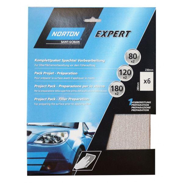 Norton Project Pack Filler Preparation Pack Of 6 Sanding Sheets