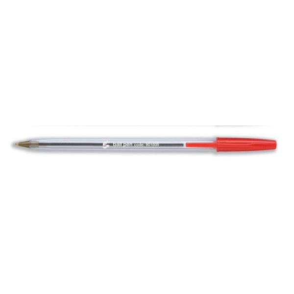 Clear Ball Point Pens Red Pack Of 50