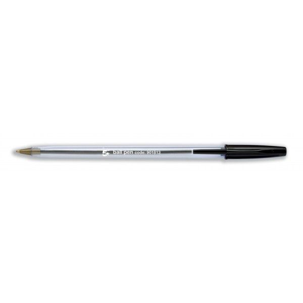 Clear Ball Point Pens Black Pack Of 50