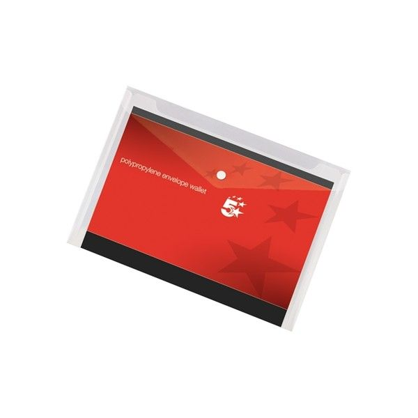 A4 Pressstud Envelope Wallets Clear Pack Of 5