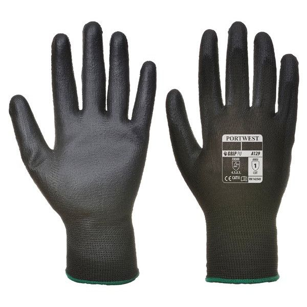 Pu Palm Glove Black Large Pack Of 12