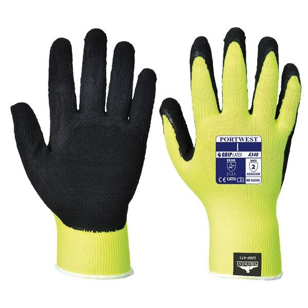 Hivis Grip Gloves Yellow Medium