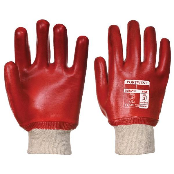 Pvc Knitwrist Dipped Gloves Red Large