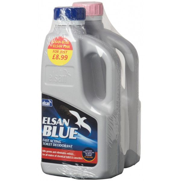 Blue Toilet Fluid And Pink Rinse 1 Litre Twinpack