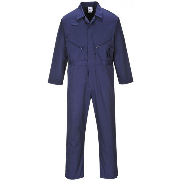 Polycotton Zip Coverall Navy Large Regular