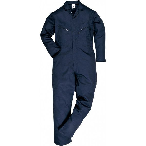Polycotton Zip Coverall Navy X Large Tall
