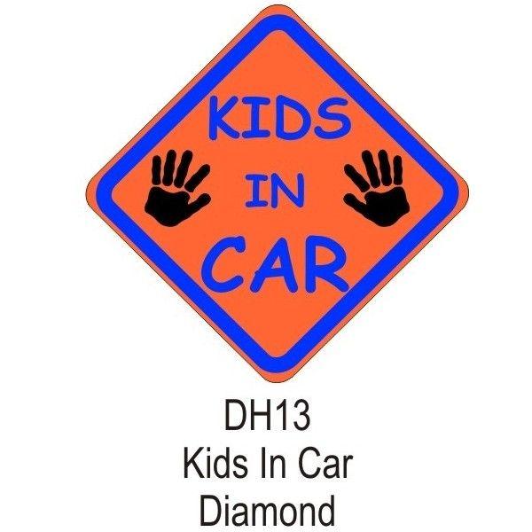 Suction Cup Diamond Sign Orange Kids In Car