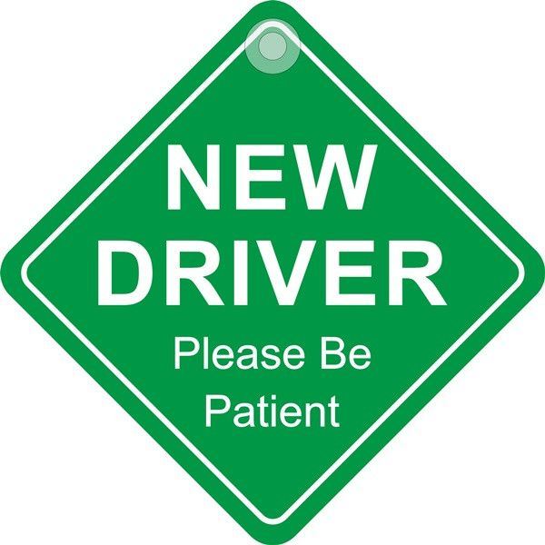 Suction Cup Diamond Sign New Driver Please Be Patient