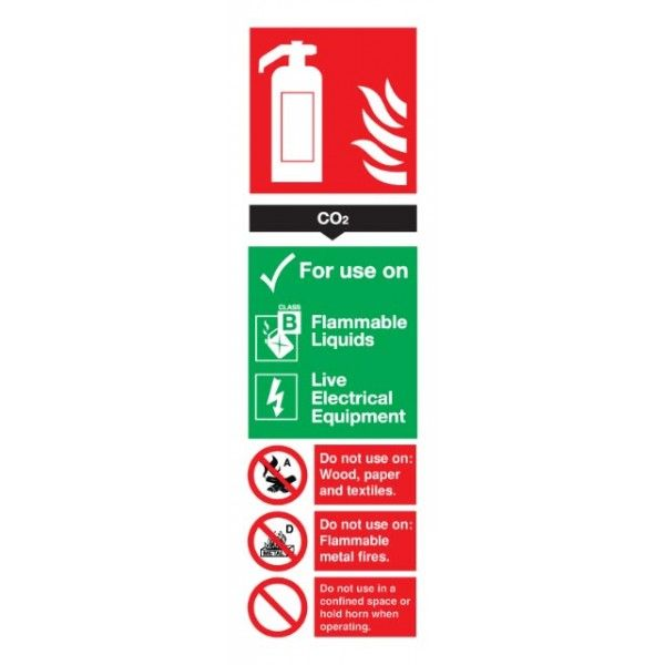 Co2 Fire Extinguisher Sign Rigid Polypropylene 300Mm X 100Mm