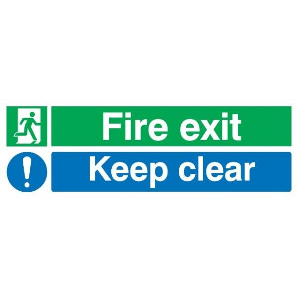 Fire Exit Keep Clear Sign Rigid Polypropylene 150Mm X 450Mm