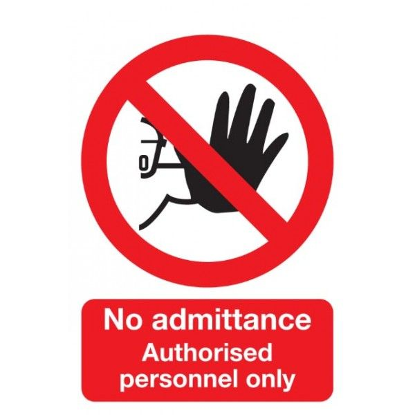 Authorised Personnel Only Sign Rigid Polypropylene 210Mm X 148Mm