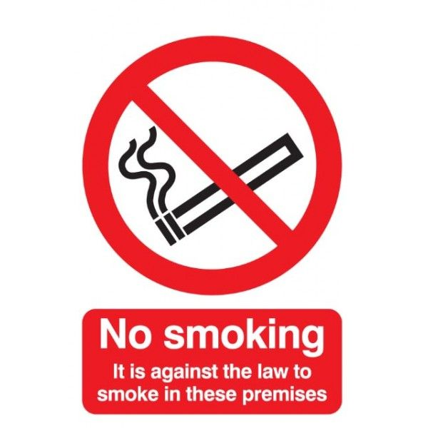No Smoking Legally Required Sign Rigid Polypropylene 210Mm X 148Mm