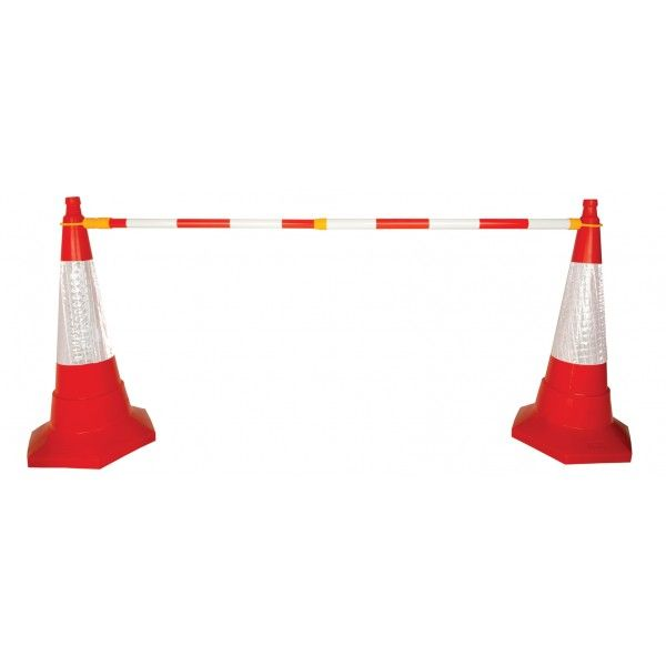 Retractable Cone Bar Barrier Redwhite