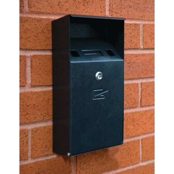 Wall Mountable Compact Cigarette Bin Black Textured Finish
