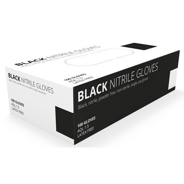 Black Nitrile Powder Free Gloves Medium Pack Of 100