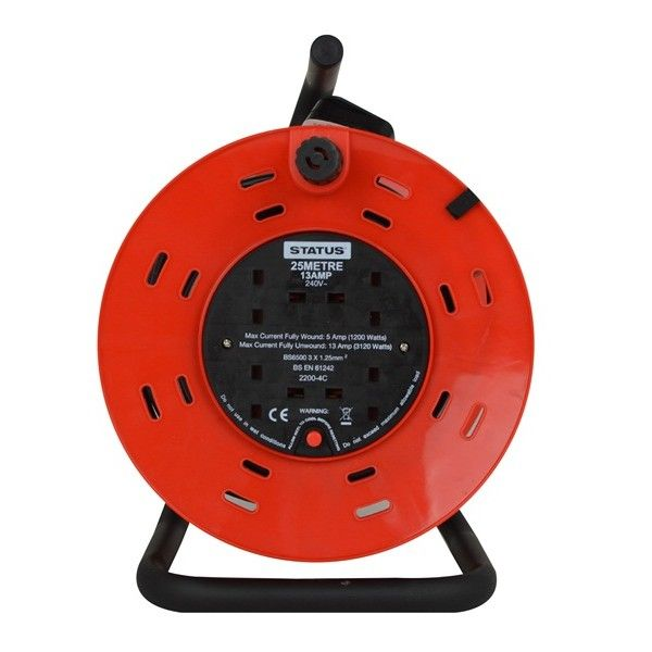 4 Way Open Frame Cable Reel Red 25M