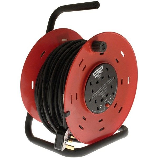 4 Way Open Frame Cable Reel Red 50M