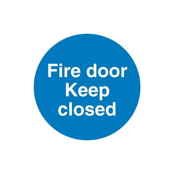 Fire Door Keep Closed Sign Self Adhesive Vinyl 100Mm X 100Mm