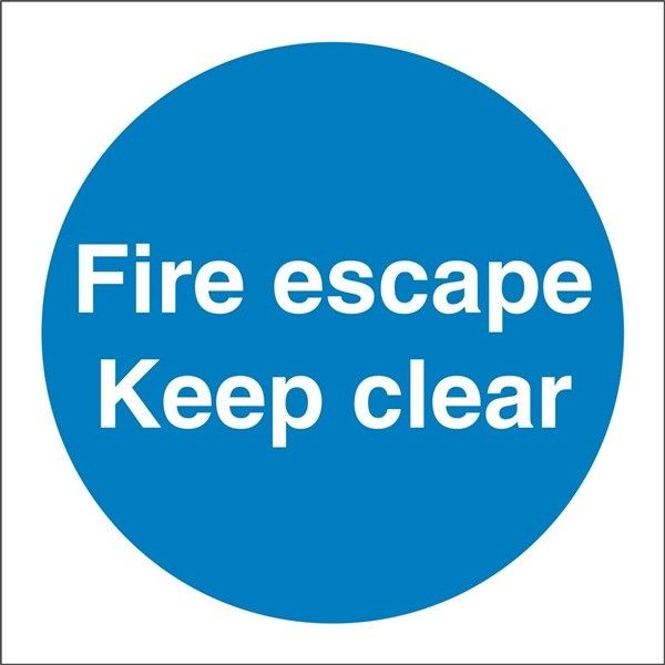 Fire Escape Keep Clear Sign Self Adhesive Vinyl 100Mm X 100Mm