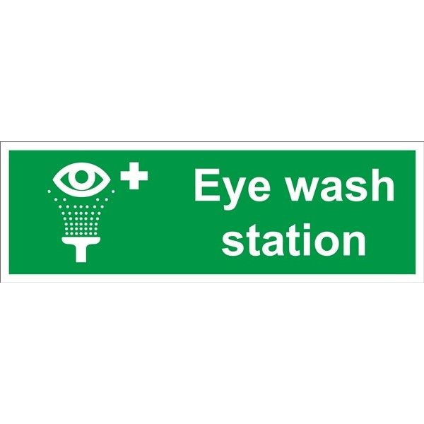 Eye Wash Station Sign Self Adhesive Vinyl 100Mm X 300Mm