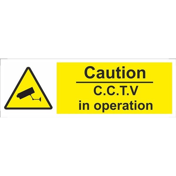 Caution Cctv In Operation Sign Self Adhesive Vinyl 100Mm X 300Mm