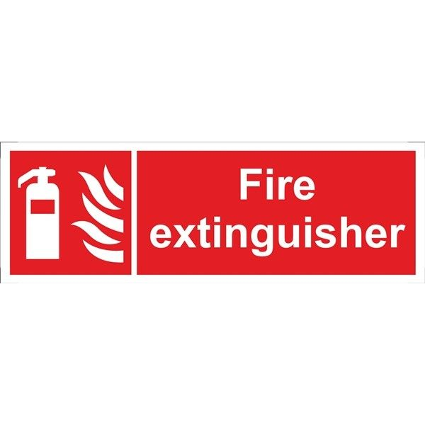 Fire Extinguisher Sign Self Adhesive Vinyl 100Mm X 300Mm